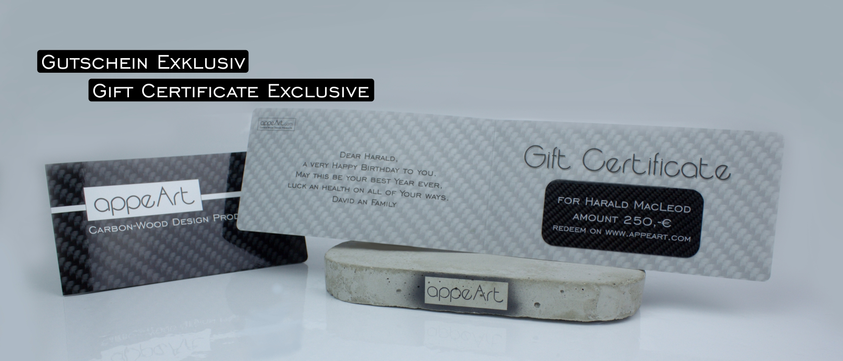 Geschenkgutschein Gift Certificate - appeArt - Carbon Wood Design Products